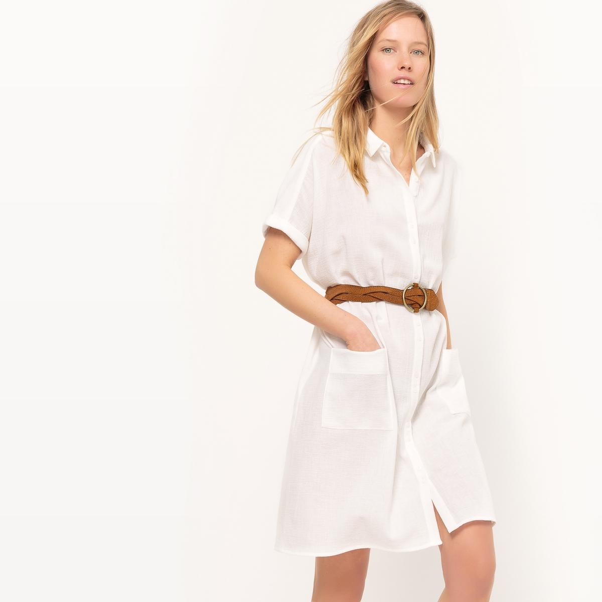 Платье с рубашечным воротником, длина до колен, однотонное
