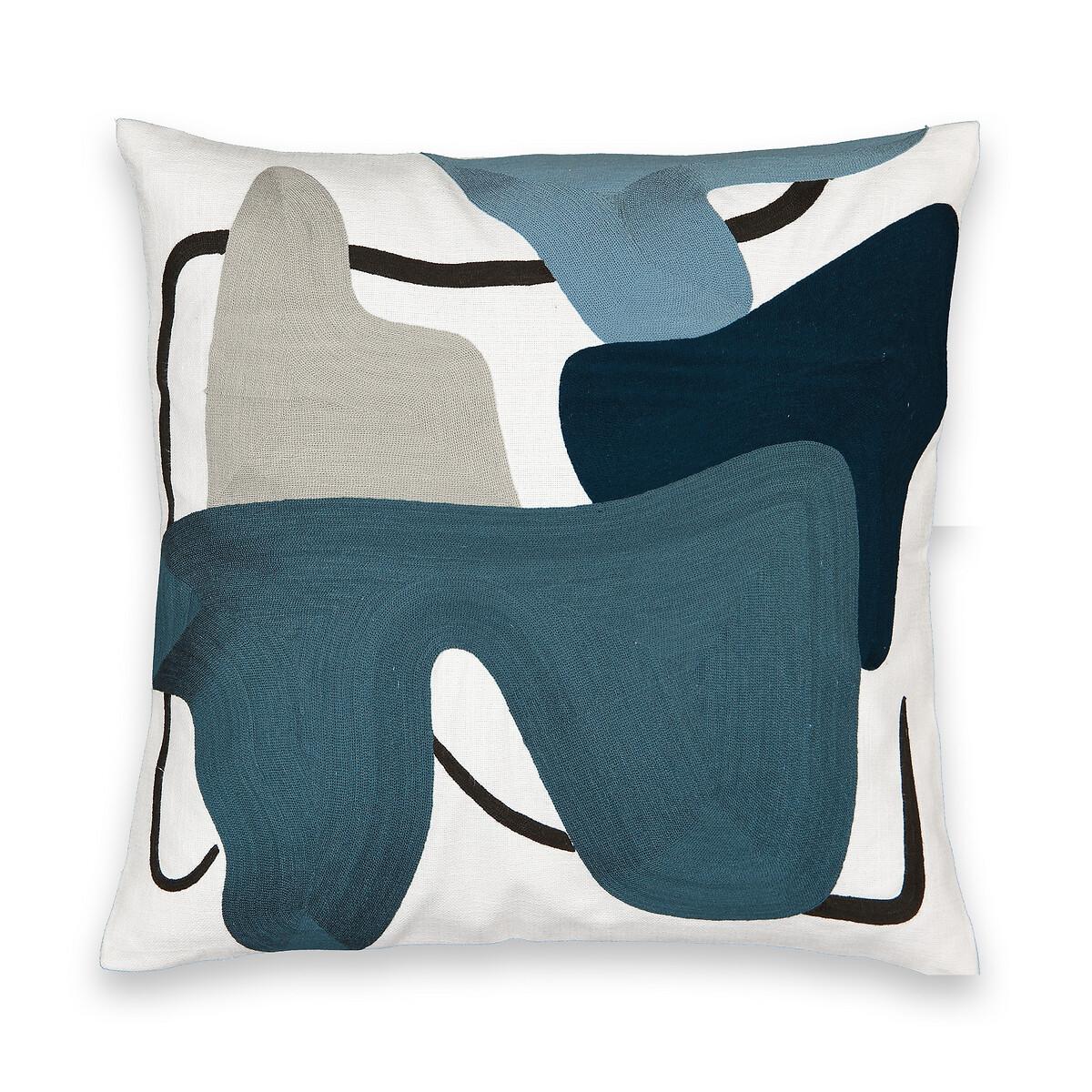 Фото - Чехол LaRedoute На подушку с вышивкой Annya 45 x 45 см белый чехол laredoute на подушку валик с отделкой бисером volodia 45 x 45 см зеленый