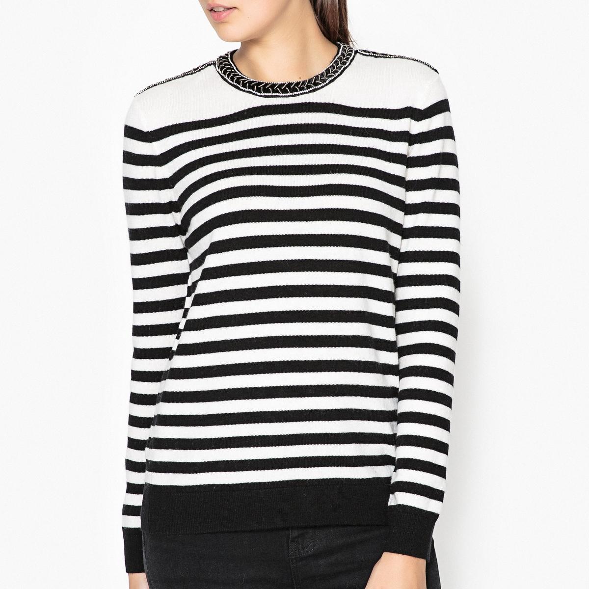 Пуловер из шерсти и кашемира с вырезом с украшениями KRYS