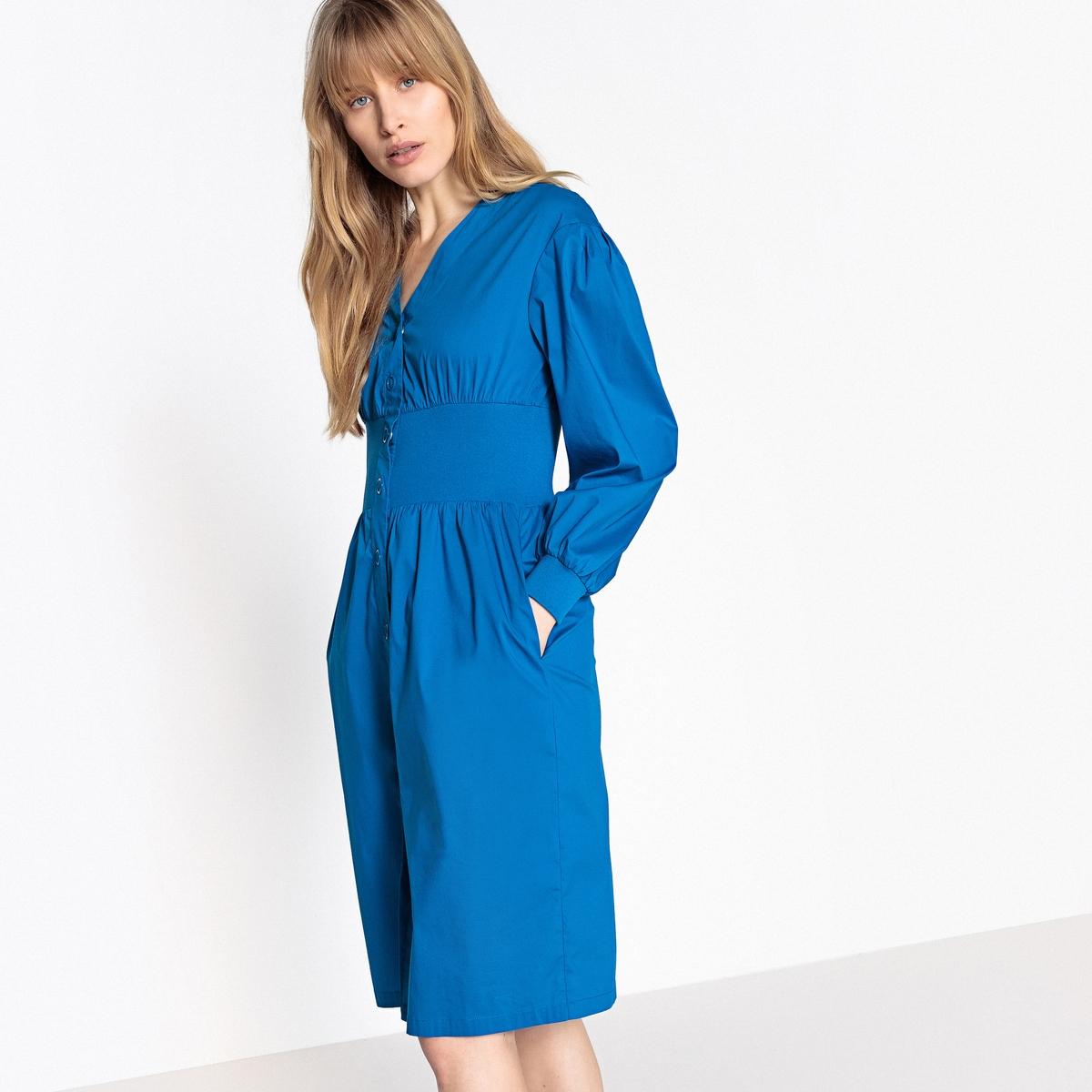 Sukienka rozkloszowana, zapinana na guziki z przodu, z gumką
