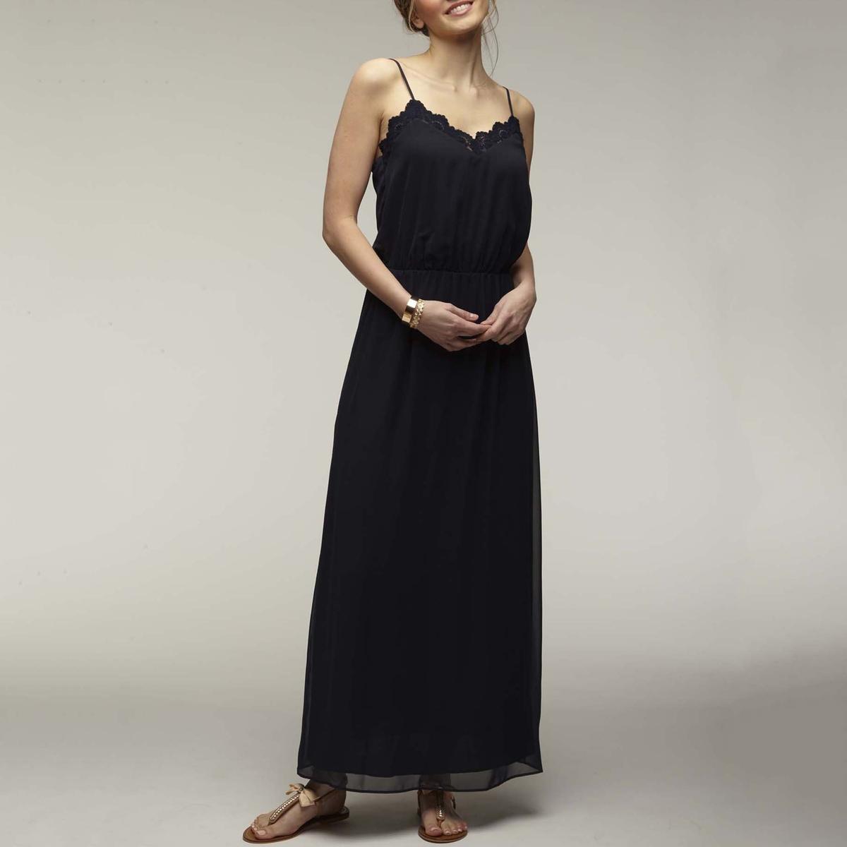 Платье La Redoute Длинное на тонких бретелях с кружевом на вырезе 38 (FR) - 44 (RUS) синий комплект из платья на тонких la redoute бретелях и топа 50 fr 56 rus синий