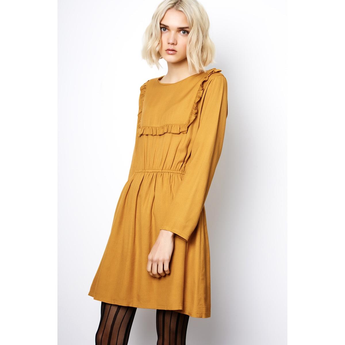 Платье короткое с длинными рукавамиДетали •  Форма : расклешенная •  Короткое  •  Длинные рукава     •  Круглый вырезСостав и уход •  100% вискоза  •  Следуйте советам по уходу, указанным на этикетке<br><br>Цвет: желтый охровый<br>Размер: M