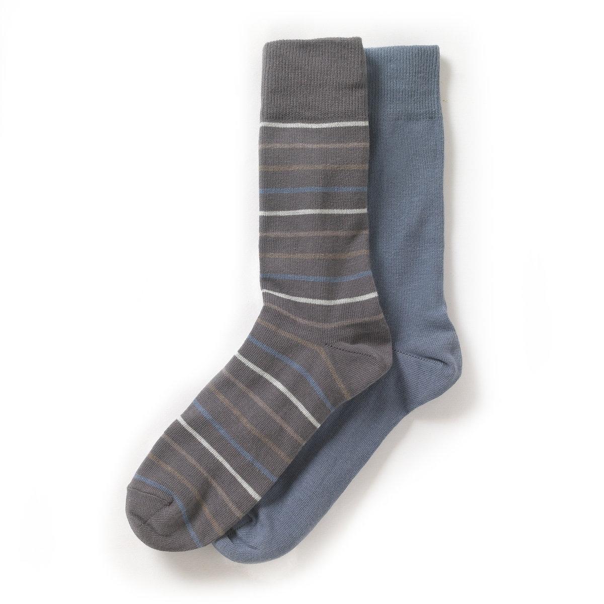 Комплект из 2 пар носковНоски: 74% хлопка, 25% полиамида, 1% эластана.  В комплекте 2 пары носков.<br><br>Цвет: серо-синий + в полоску серый,серо-синий + в полоску черный,черный+в полоску черный