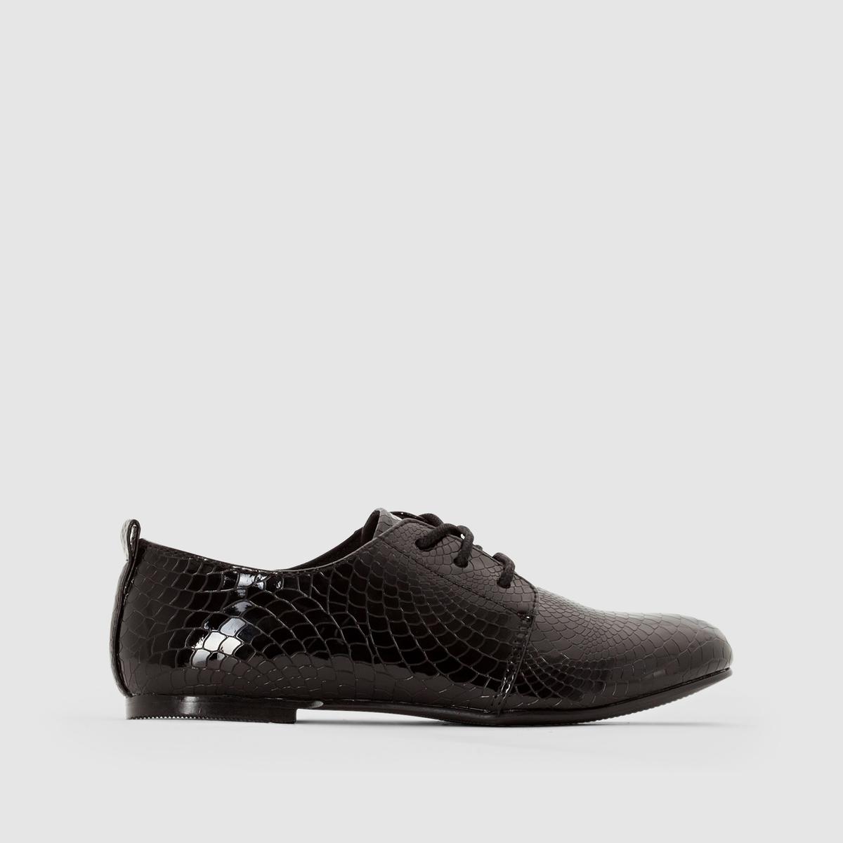 Ботинки-дерби лакированные с отделкой под кожу крокодилаМодная отделка под кожу крокодила : девушкам понравятся эти великолепные лакированные и очень модные ботинки-дерби !<br><br>Цвет: черный/черный лак<br>Размер: 33