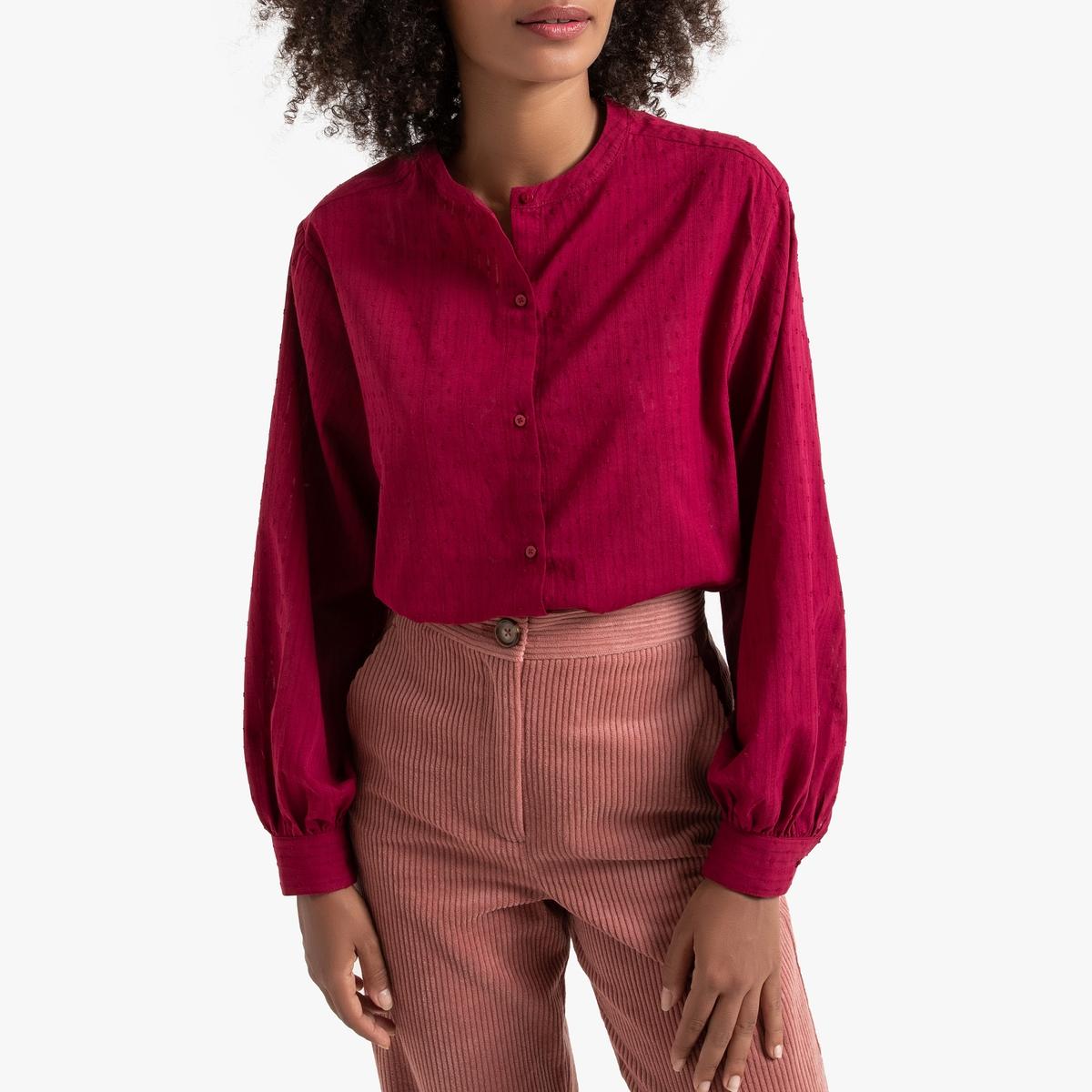 Blusa amplia con cuello redondo, de manga larga