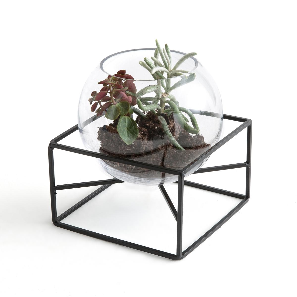 Ваза из стекла и металла TADI homereligion ваза подсвечник серебрянная из стекла