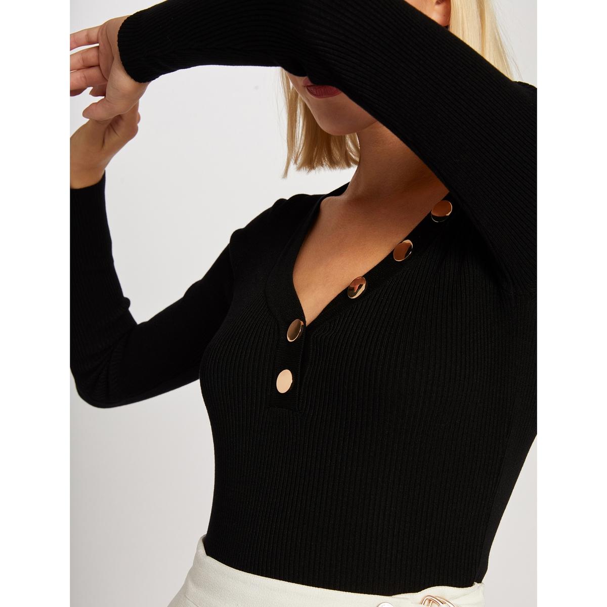 Пуловер La Redoute С V-образным вырезом с золотистыми пуговицами L черный цена 2017