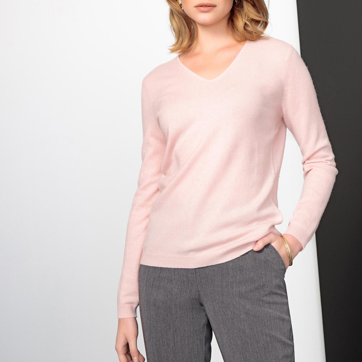 Imagen principal de producto de Jersey con cuello de pico de punto fino, 100% cachemir - Anne weyburn