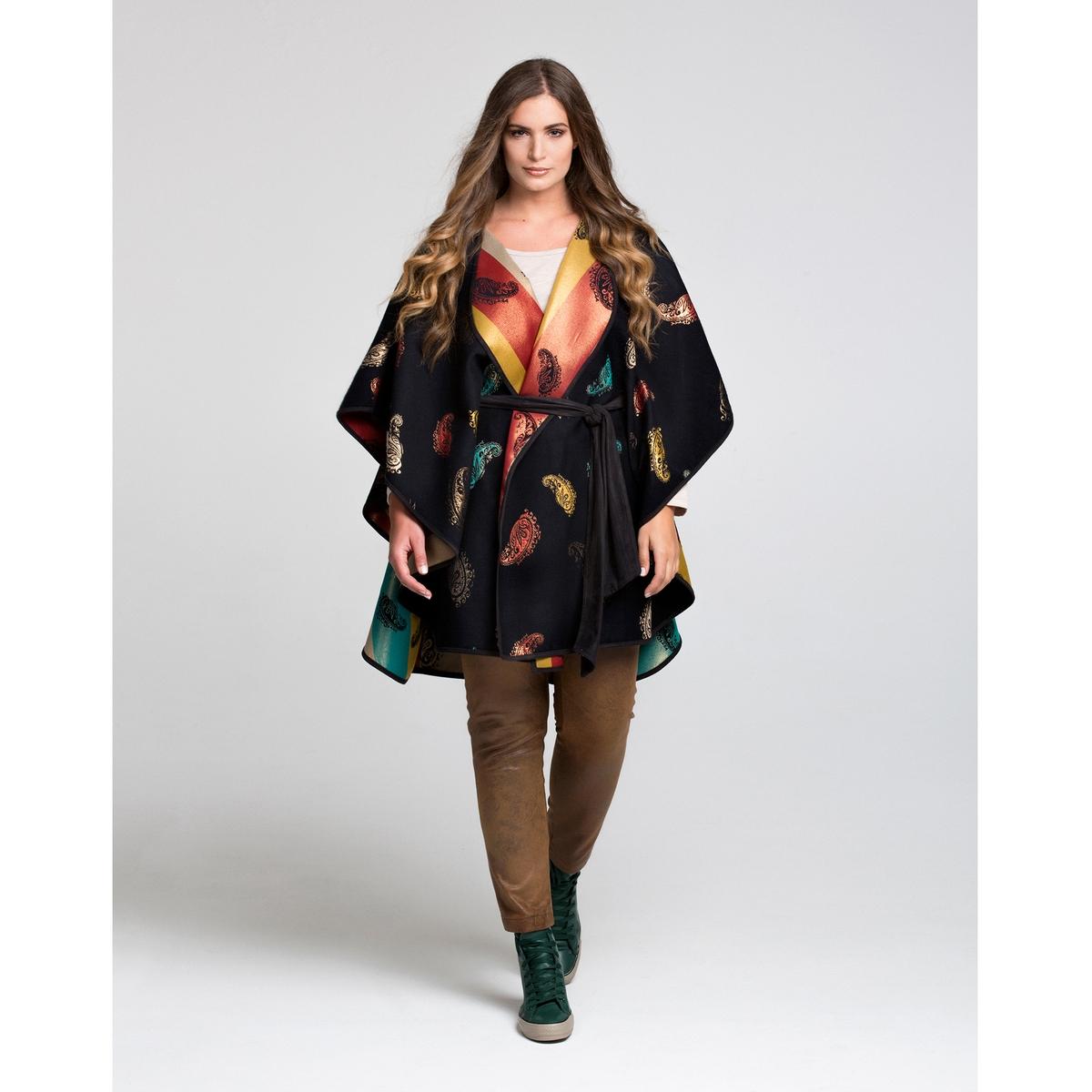 Кейп двустороннийКейп с красивым разноцветным рисунком, который можно носить с двух сторон . Рукава летучая мышь и пояс в стиле кимоно . Симпатичный кейп единого размера, подходящий для размеров от 46 до 54 .<br><br>Цвет: набивной рисунок<br>Размер: 48/52 (FR) - 54/58 (RUS)