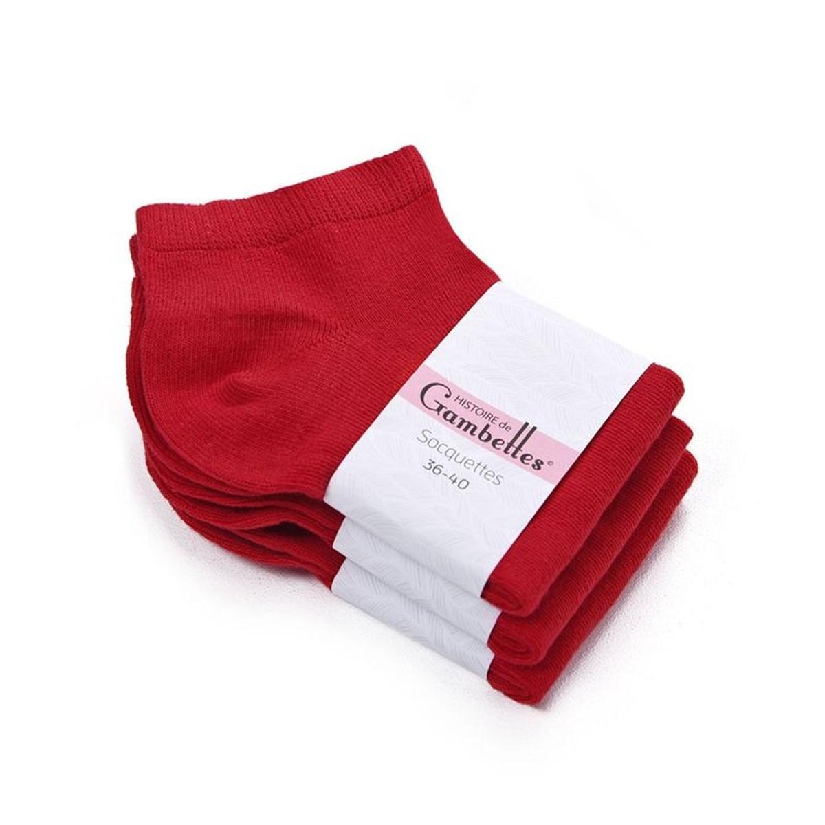 Socquettes Femme coton Rouge Vermillon (Lot de 3) - Fabriqué en europe