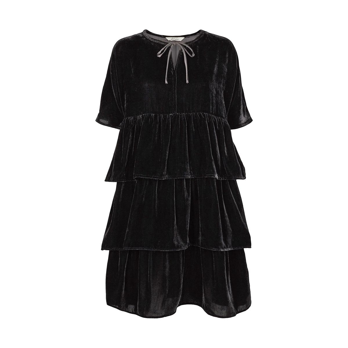 Платье короткое прямое однотонное с короткими рукавами от AND LESS