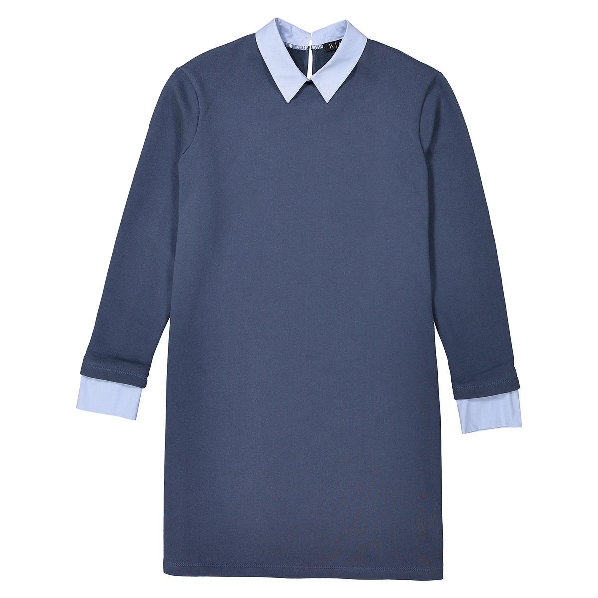 Платье-свитшот 2 в 1 с рубашечным воротником