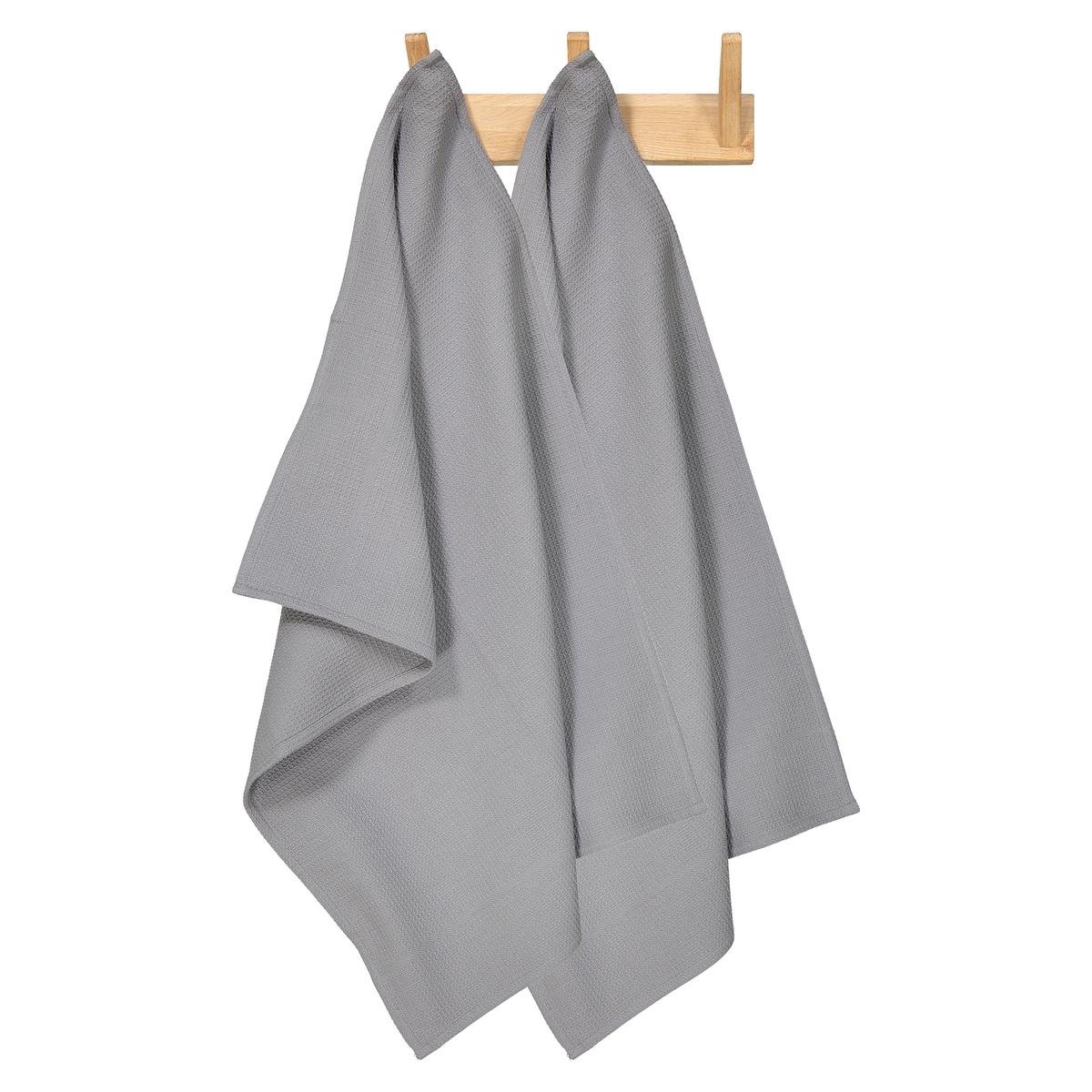 Комплект из полотенец из La Redoute Вафельной ткани единый размер серый столик la redoute maden единый размер серый