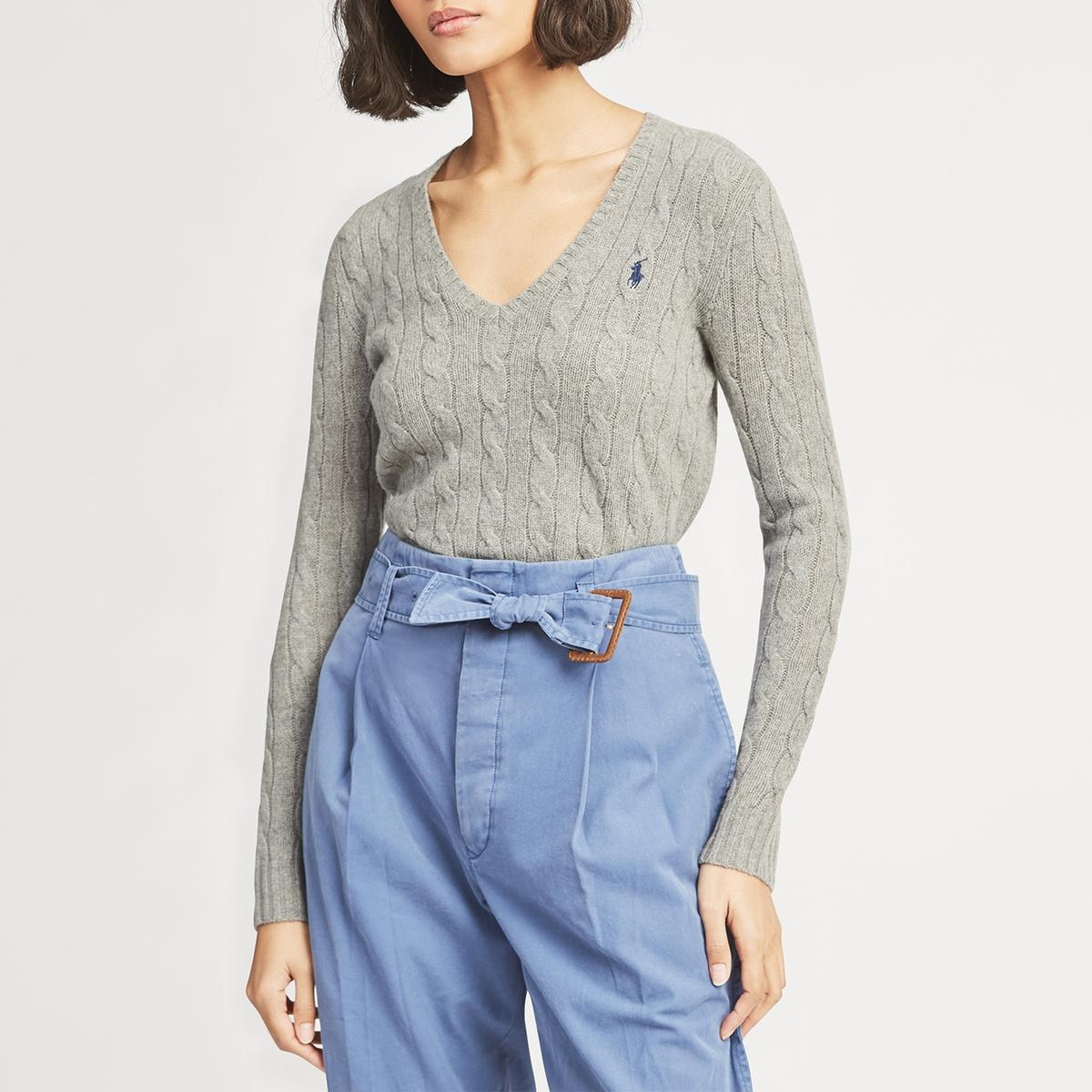 Пуловер La Redoute С v-образным вырезом из витого трикотажа L серый ic men коричневый пуловер из кашемира