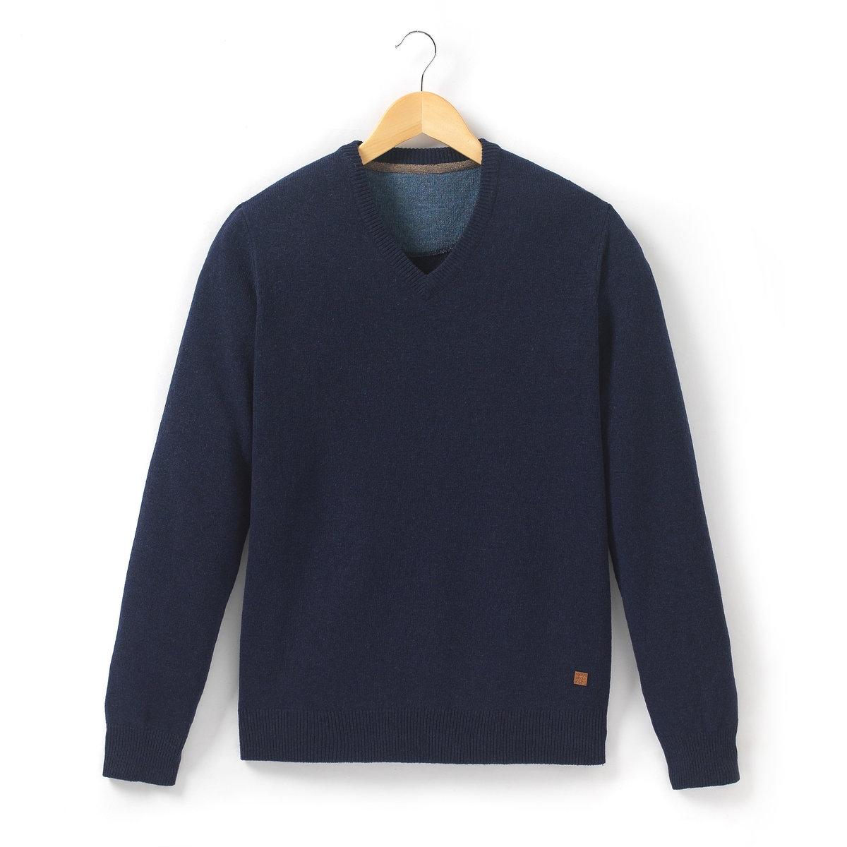 Пуловер с V-образным вырезом, 100% шерстьПуловер с V-образным вырезом R essentiels. 100% шерсти ягненка. Воротник связан по принципу 1x1. Края низа и рукавов связаны в рубчик. Длина 69 см .<br><br>Цвет: темно-серый меланж,темно-синий меланж