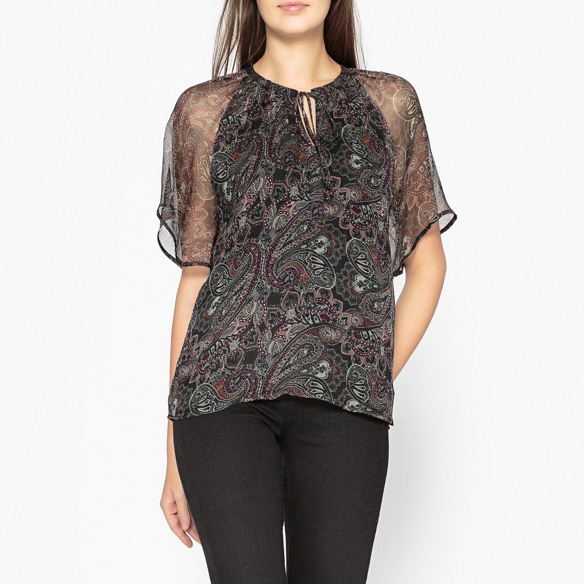 Блузка из вуали с рисунком