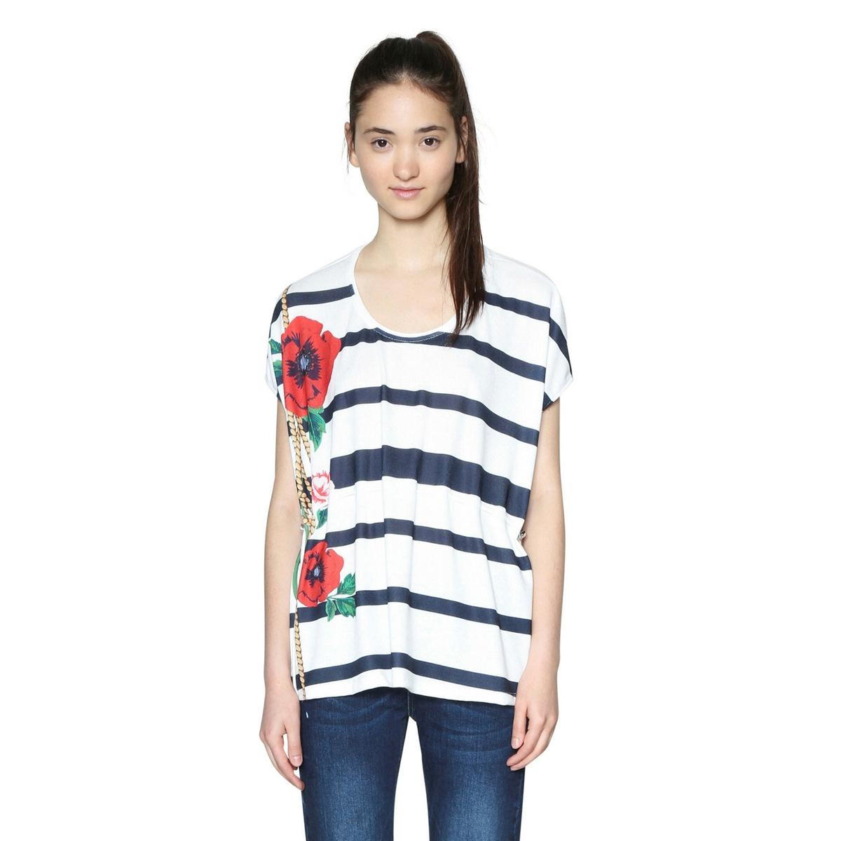 Camiseta estampada, cuello redondo, manga corta