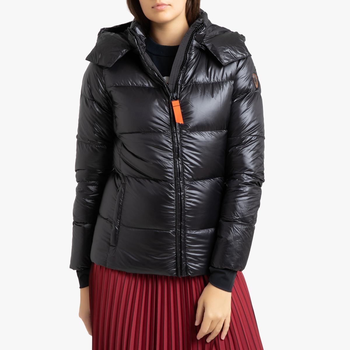 цена Куртка La Redoute Стеганая короткая с капюшоном OLGA SHINY 3(L) черный в интернет-магазинах