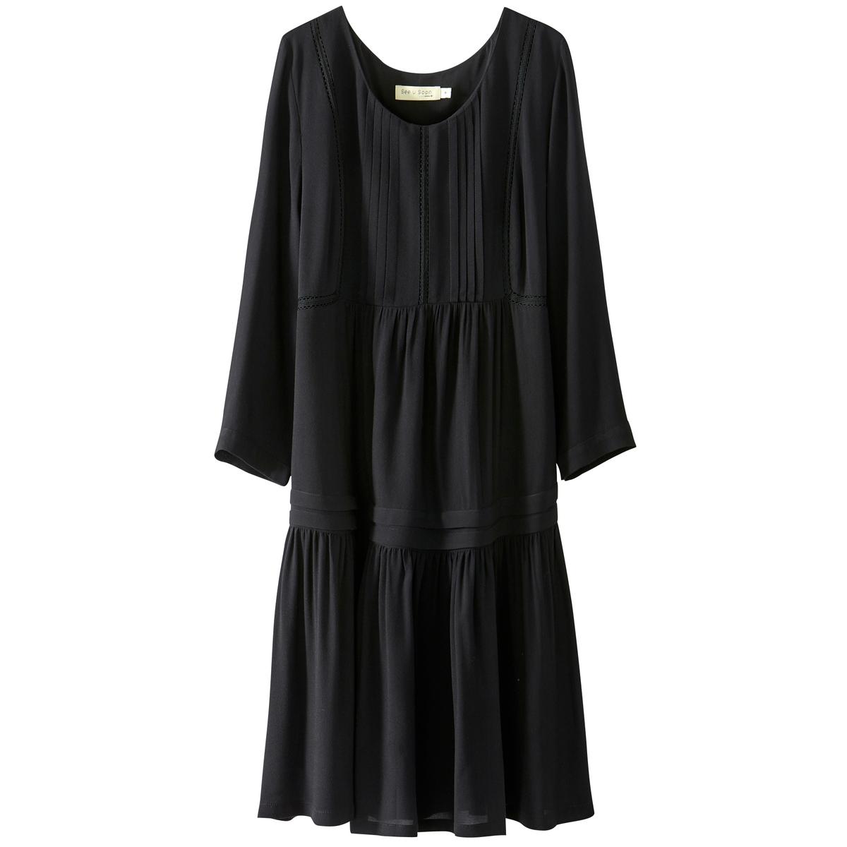 Платье однотонное расклешенного и короткого покроя с рукавами 3/4Детали •  Форма : расклешенная •  Укороченная модель •  Рукава 3/4    •  Круглый вырезСостав и уход •  100% вискоза •  Следуйте советам по уходу, указанным на этикетке<br><br>Цвет: черный<br>Размер: XS