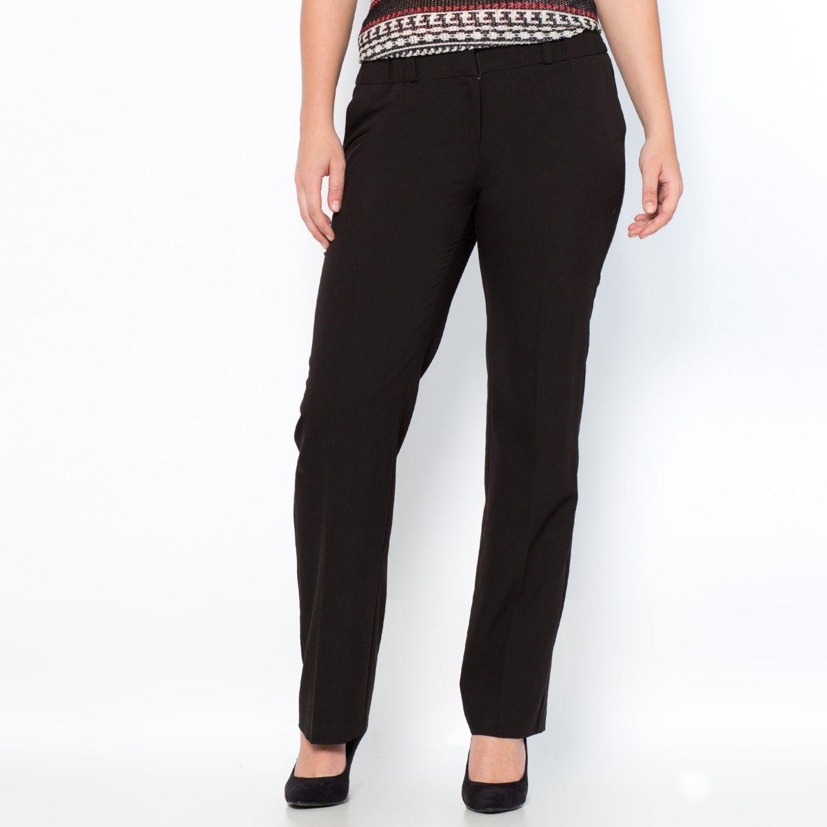 Брюки прямые, покрой экстра-комфортБлагодаря своему прямому покрою эти брюки подойдут всем: они не подчёркивают ни талию, ни бёдра ! Из великолепно сидящей, струящейся ткани, 74 % полиэстера, 19 % вискозы, 7 % эластана, не требует глажки!ПОКРОЙ ЭСКТРА-КОМФОРТ : (пышные бёдра). Полностью эластичный пояс. Вытачки спереди и сзади. Косые карманы спереди, карман на пуговице сзади. Длина по внутреннему шву 78 см,   ширина по низу 22 см.<br><br>Цвет: темно-синий,черный<br>Размер: 42 (FR) - 48 (RUS).44 (FR) - 50 (RUS).46 (FR) - 52 (RUS).50 (FR) - 56 (RUS).52 (FR) - 58 (RUS).56 (FR) - 62 (RUS).58 (FR) - 64 (RUS).60 (FR) - 66 (RUS).62 (FR) - 68 (RUS)