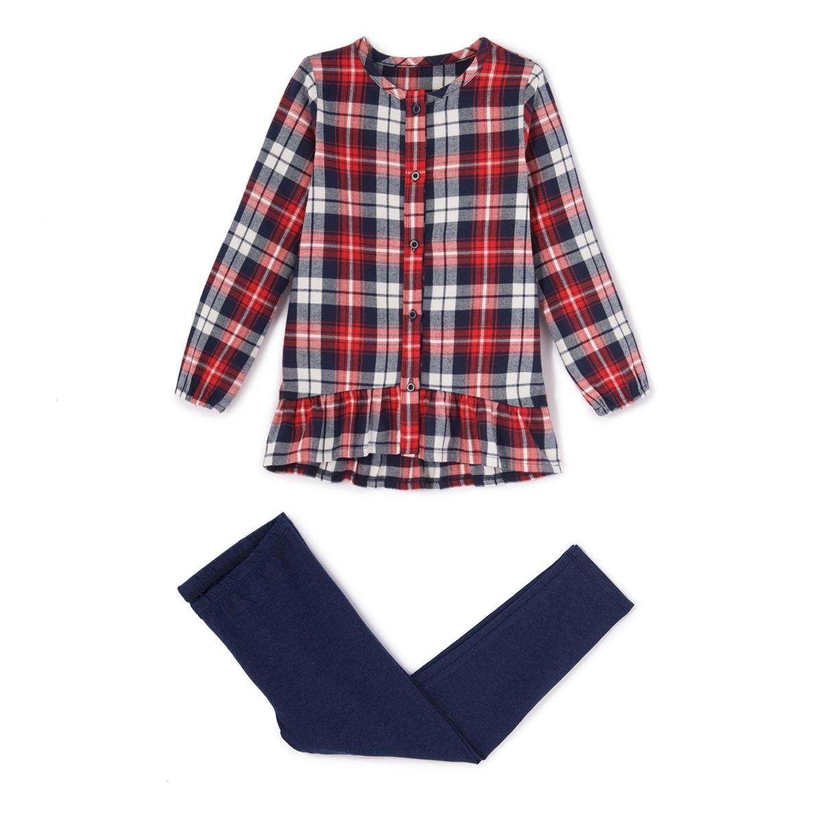 Пижама в клетку, 2-12 летПижама: удлиненная рубашка с воланом и застежкой на пуговицы. Круглый вырез. Длинные однотонные леггинсы с эластичным поясом.Состав и описание :    Материал     Верх из 100% хлопка                  Леггинсы из трикотажа стрейч, 95% хлопка, 5% эластана  Уход :  Машинная стирка при 30 °C с вещами схожих цветов. Стирка и глажка с изнаночной стороны. Машинная сушка в умеренном режиме. Гладить при низкой температуре.<br><br>Цвет: в клетку<br>Размер: 12 лет -150 см.6 лет - 114 см.5 лет - 108 см.3 года - 94 см