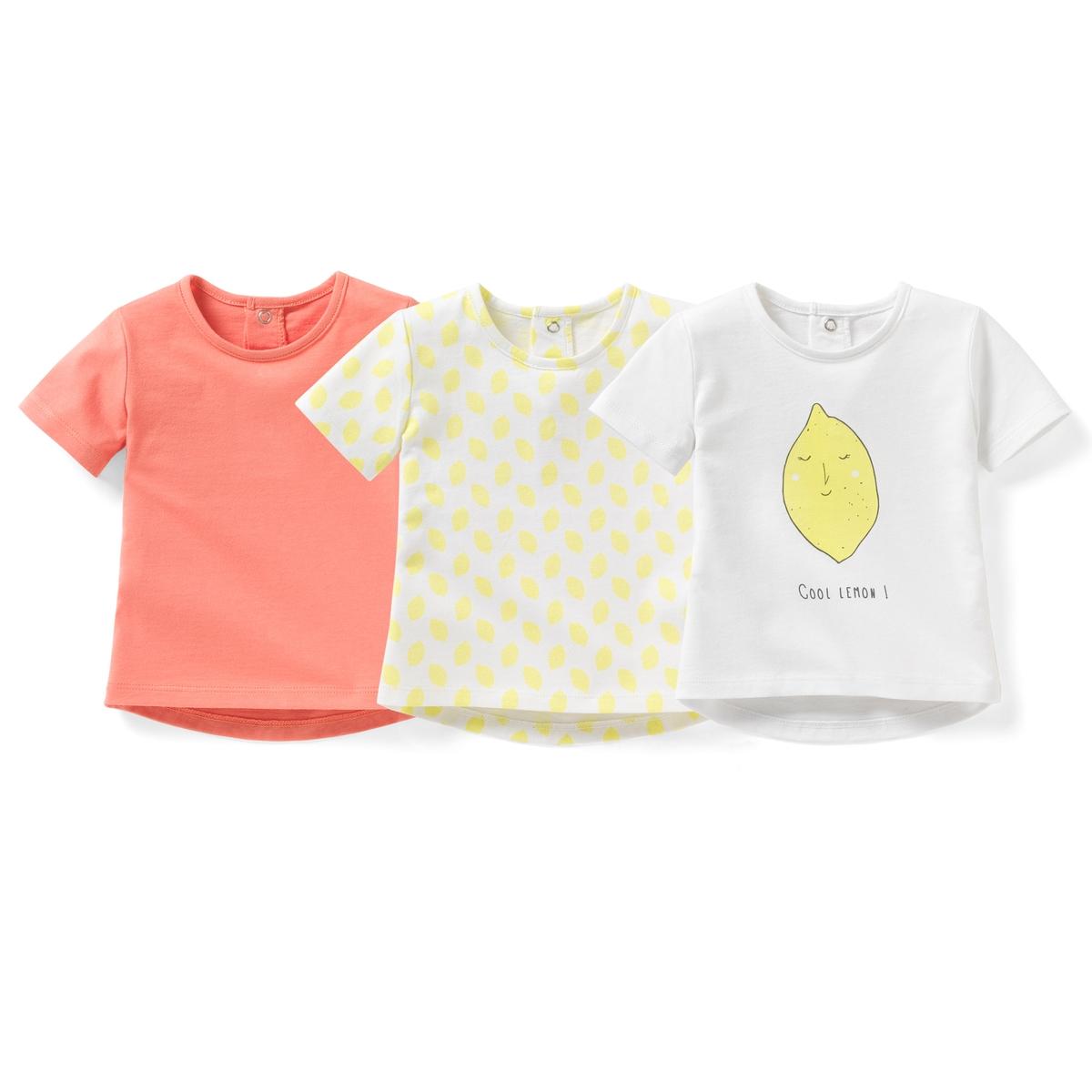 Комплект из 3 футболок, 1 мес. - 3 годаКомплект из 3 футболок с короткими рукавами из джерси. Круглый вырез. Застежка на кнопки сзади. В комплекте: 1 однотонная футболка + 1 футболка с рисунком + 1 однотонная футболка с рисунком лимон спереди.Состав и описание : Материал         100% хлопокМарка         R ?ditionУход: :Машинная стирка при 40 °С с вещами схожих цветовСтирать и гладить с изнаночной стороныМашинная сушка в умеренном режимеГладить при средней температуреНаименование марки отпечатано внутри изделия и не указано на этикетке, пришитой сзади, чтобы избежать раздражения или зуда у детей<br><br>Цвет: розовый + белый<br>Размер: 3 мес. - 60 см