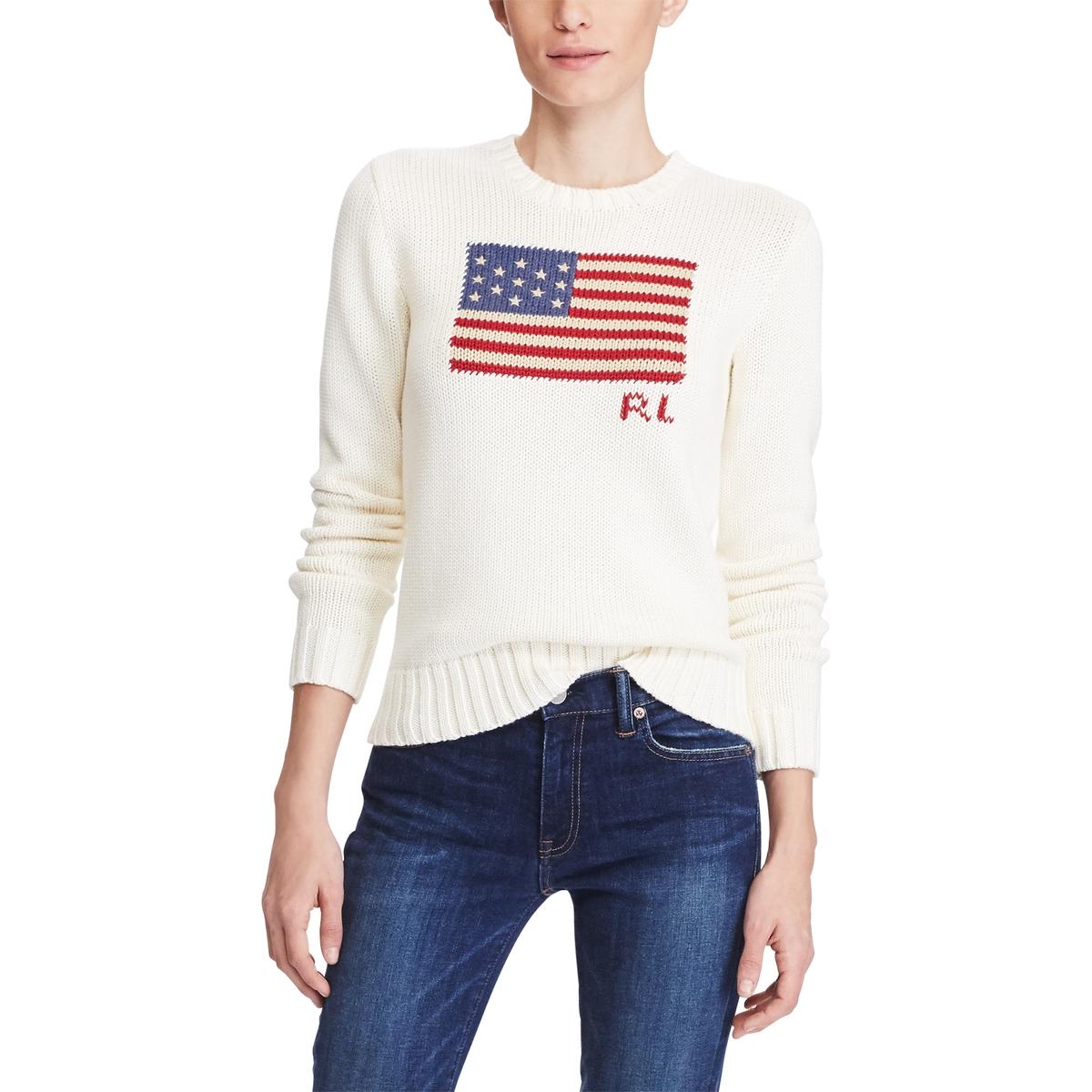 Пуловер La Redoute С круглым вырезом из трикотажа с принтом флаг M бежевый пуловер la redoute с круглым вырезом из тонкого трикотажа m бежевый