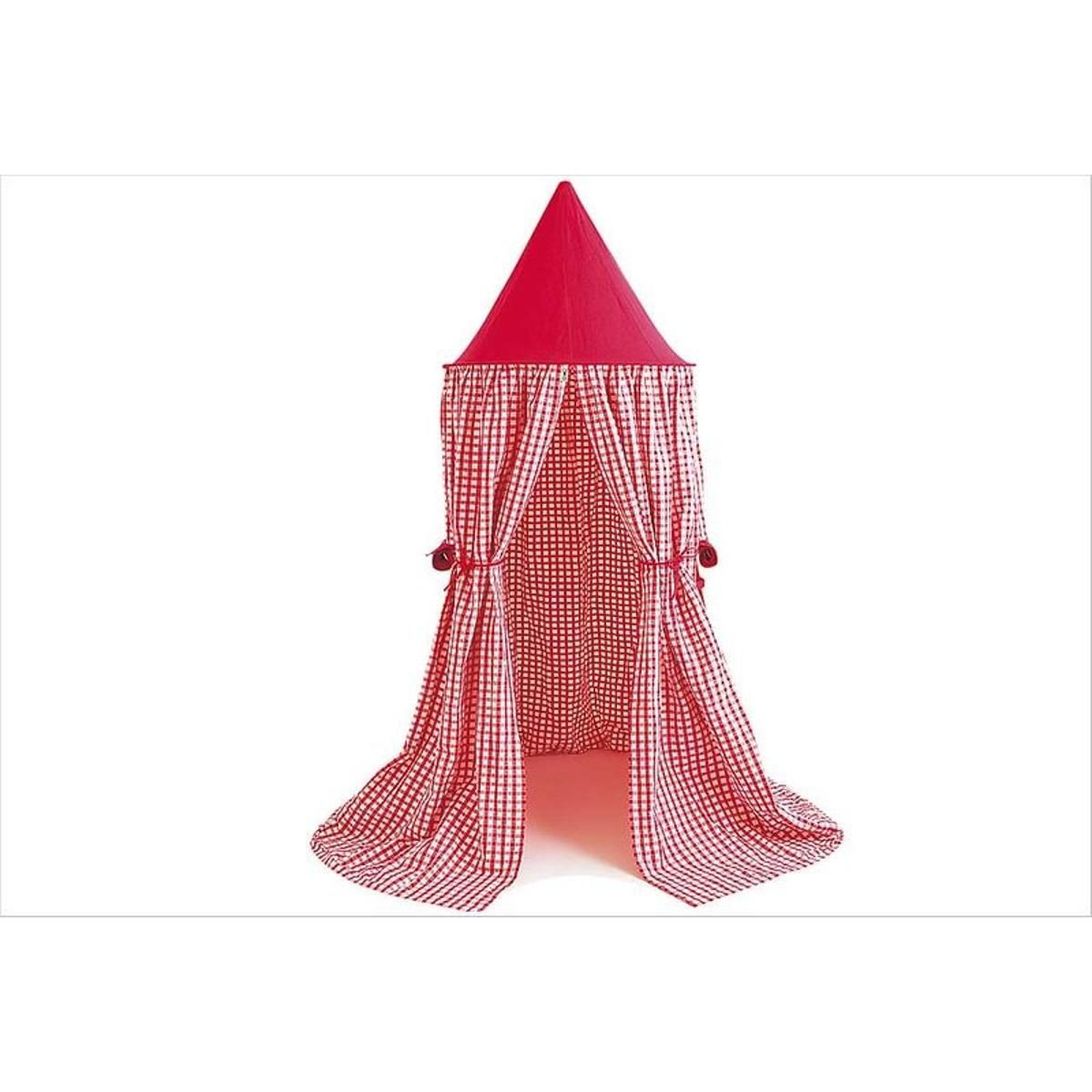 Tente suspendue en vichy rouge
