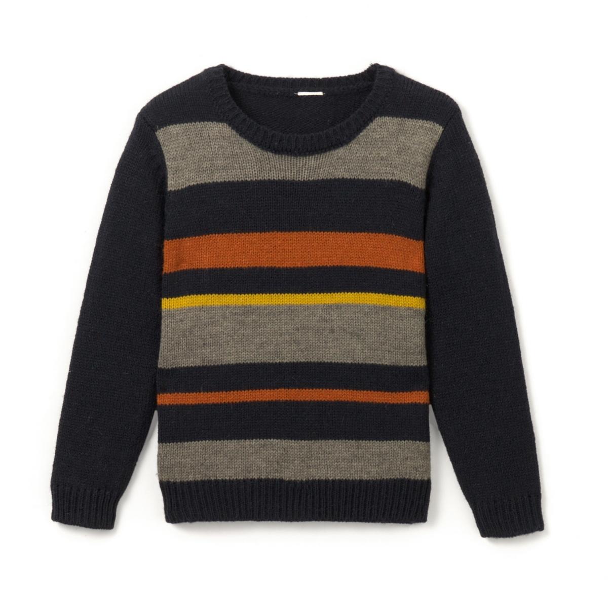 Пуловер в полоску с круглым вырезом,  3-12 лет