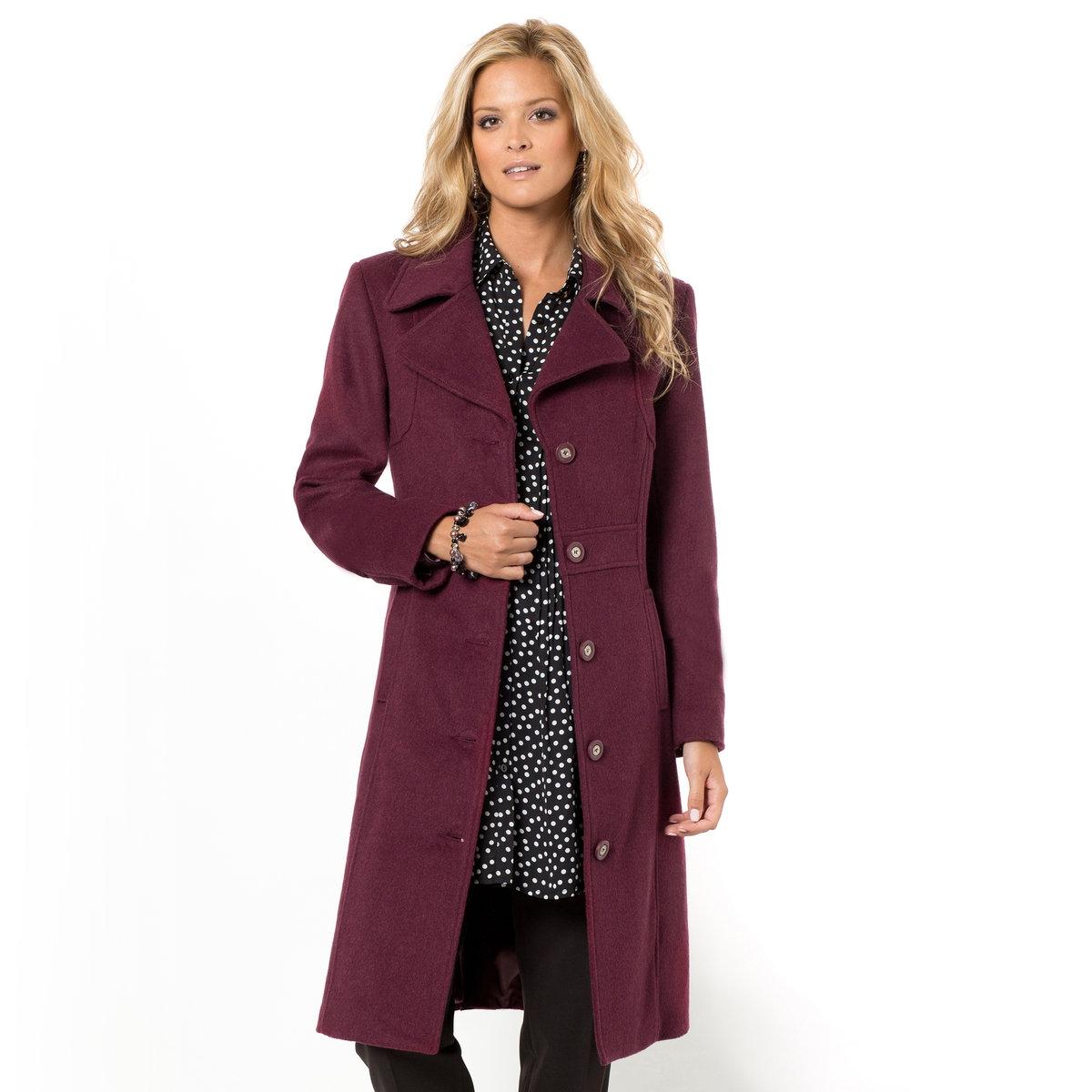 Пальто с отложным воротникомПодкладка из полиэстерного атласа. Фактура шерстяного драпа, 60% шерсти, 30% полиэстера, 5% вискозы, 5% других волокон.<br><br>Цвет: темно-бордовый<br>Размер: 44 (FR) - 50 (RUS)