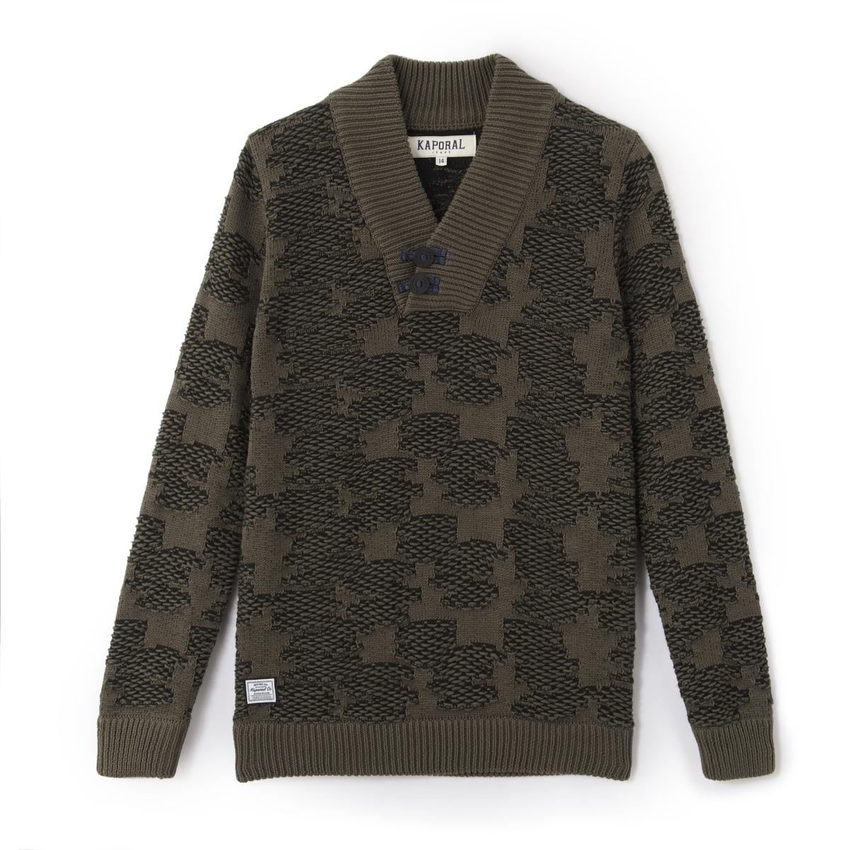 Пуловер из плотного трикотажа с шалевым воротником