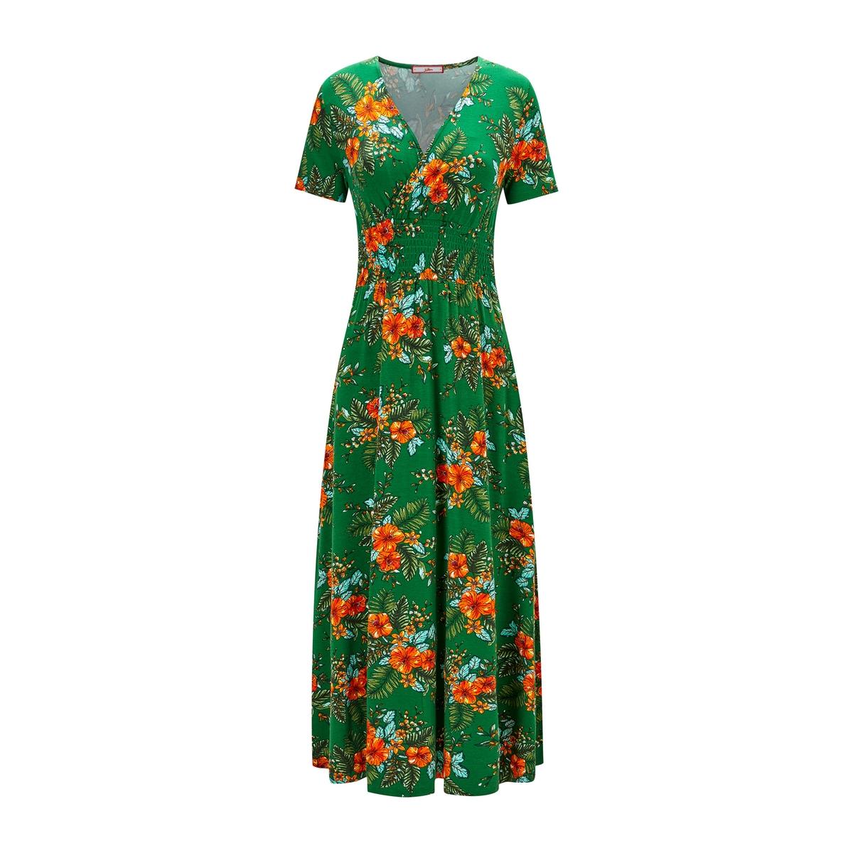 Платье расклешенное с цветочным рисунком и короткими рукавами