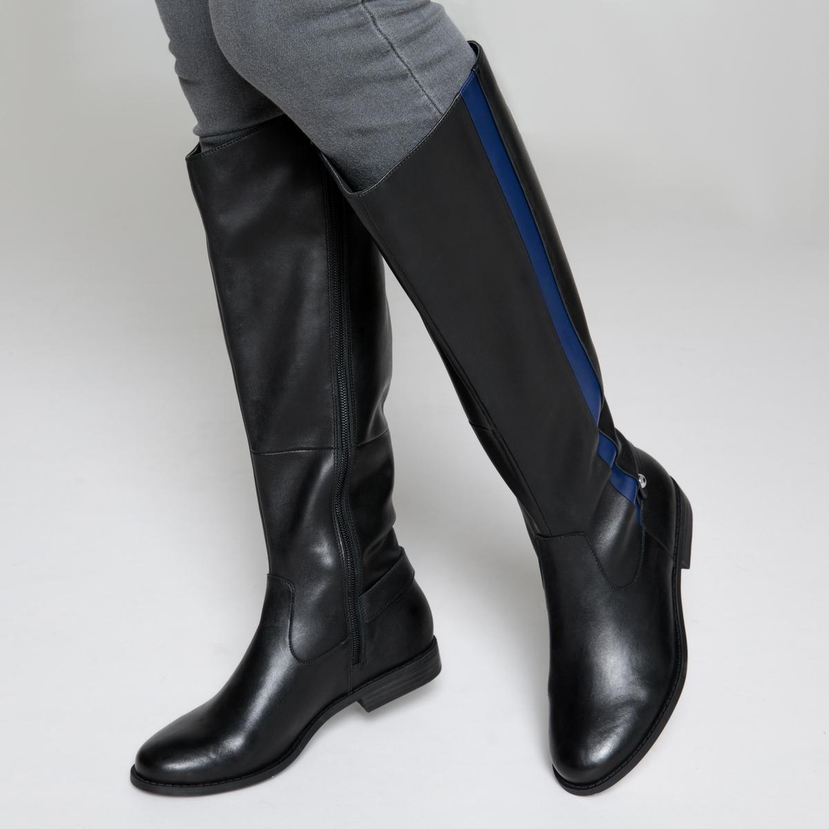 Botas de montar de piel con detalle de banda azul