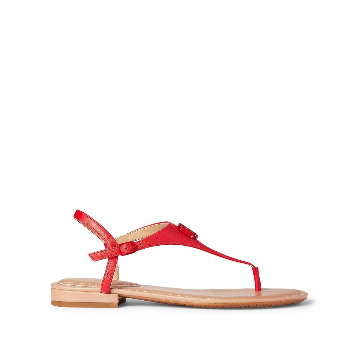 Сандалии LaRedoute С перемычкой из кожи с плоским каблуком 36 красный 12⠀storeez сандалии с перемычкой