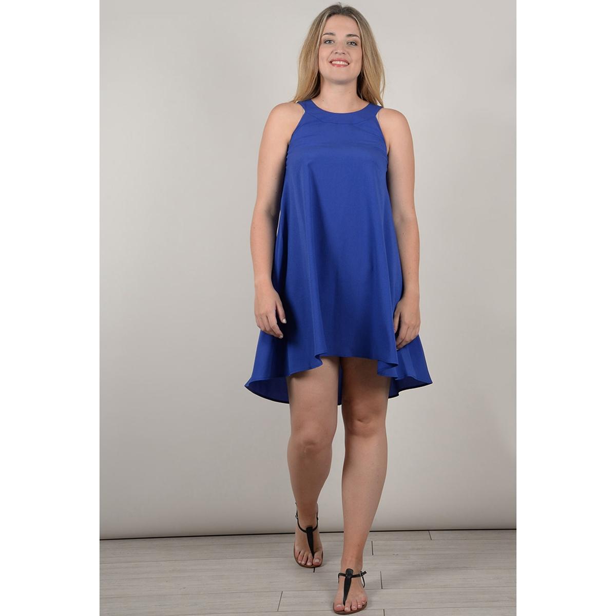 Платье La Redoute Расклешенное короткое с длинными рукавами 46 (FR) - 52 (RUS) синий