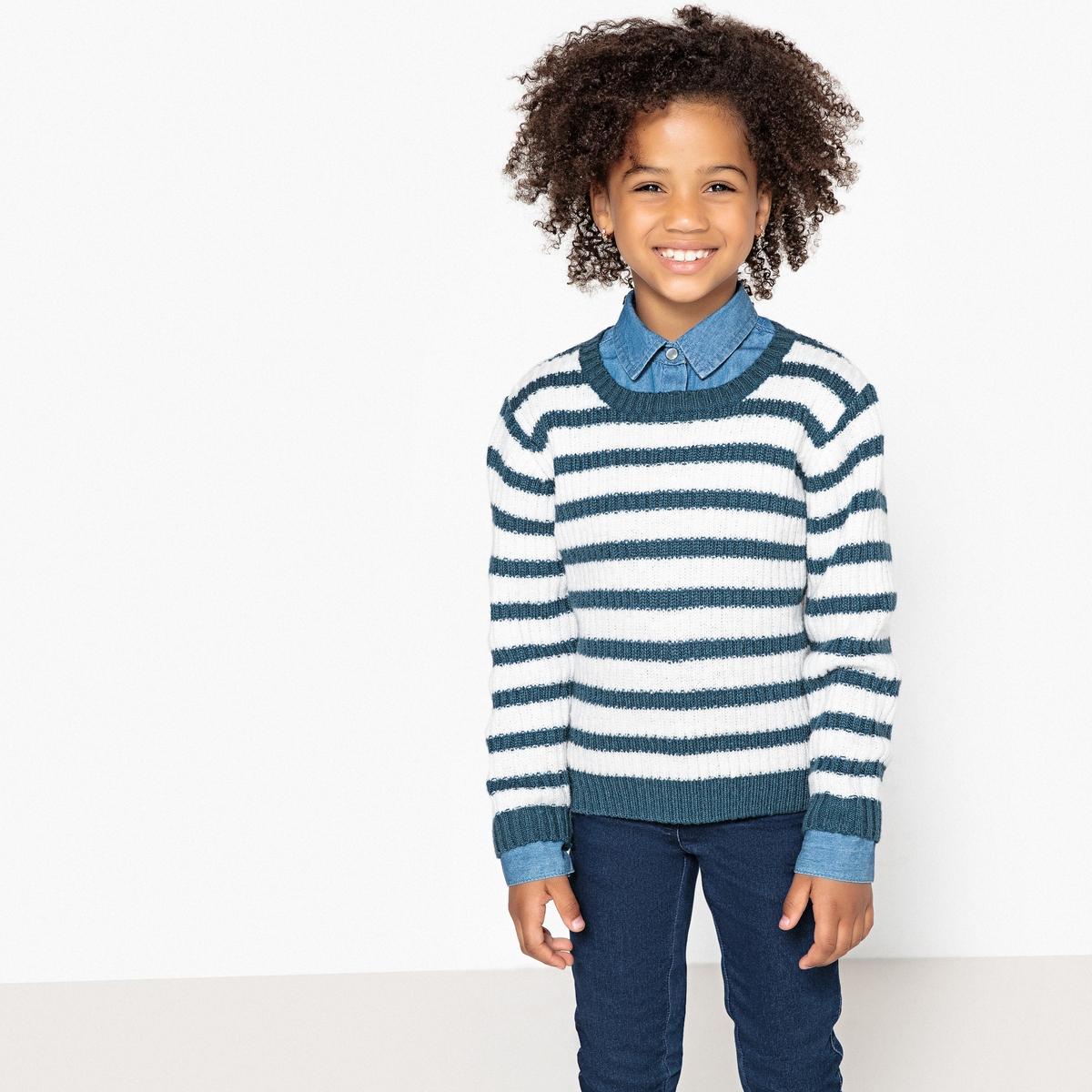 Пуловер La Redoute В полоску из тонкого трикотажа 3 года - 94 см синий наматрасник la redoute тонкий толщина см nizami 180 x 200 см синий