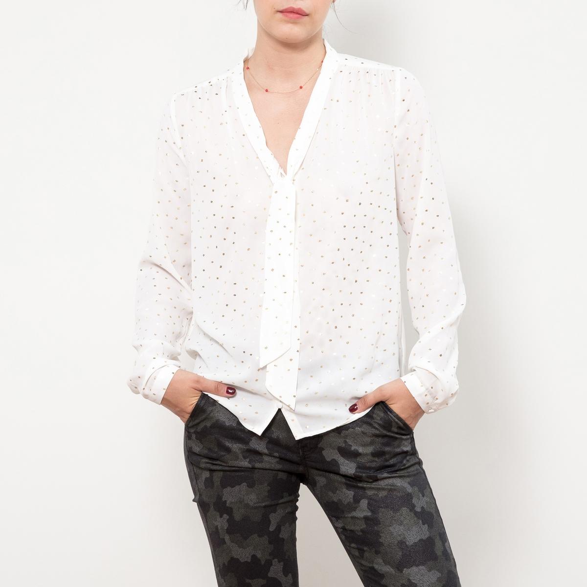 Блуза из струящейся ткани с v-образным вырезом, длинными рукавами и галстуком-бантом