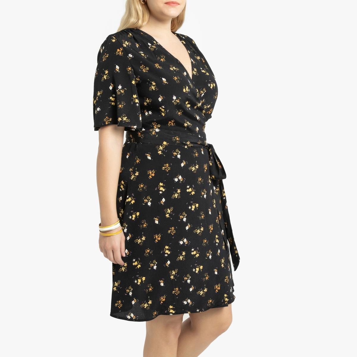 Платье La Redoute С запахом с длинными рукавами 48 (FR) - 54 (RUS) зеленый платье la redoute короткое с запахом с длинными рукавами 42 fr 48 rus черный