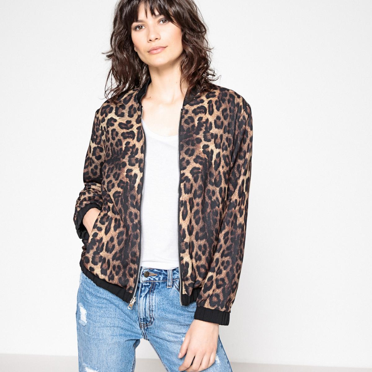Куртка-бомбер двусторонняя с леопардовым рисунком
