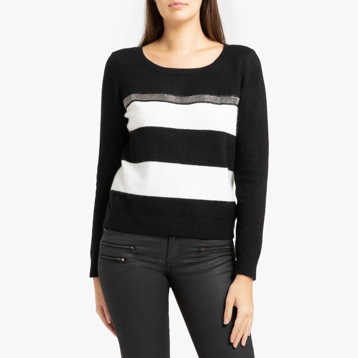 цена Пуловер La Redoute В полоску с круглым вырезом из тонкого трикотажа XS черный онлайн в 2017 году