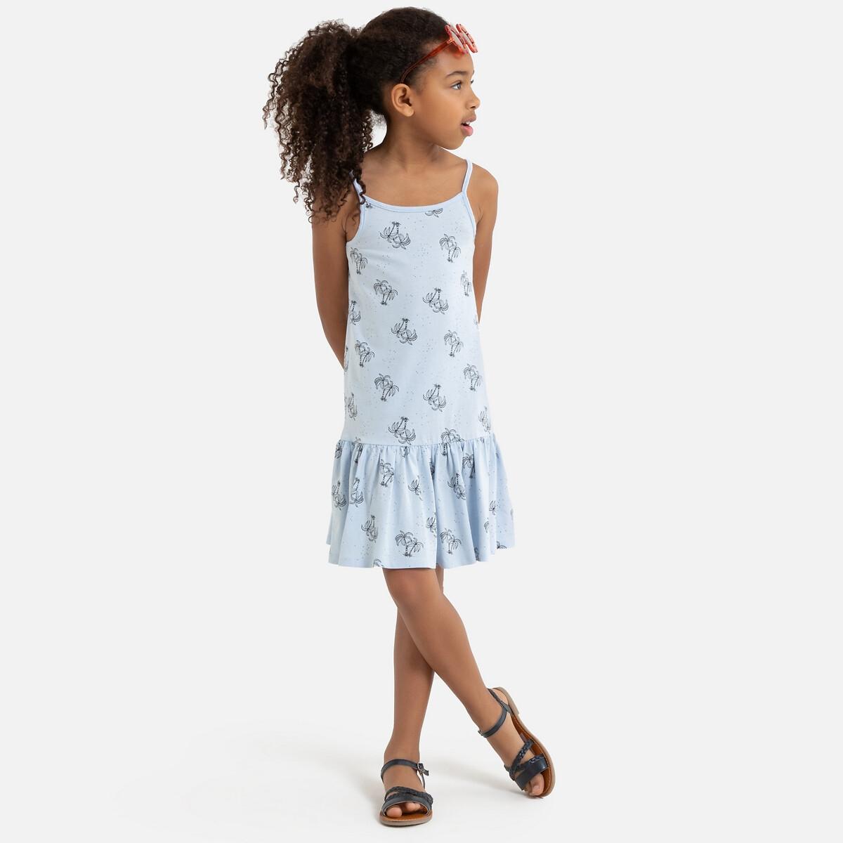 Платье La Redoute На тонких бретелях с принтом пальма 6 лет - 114 см синий полосатые la redoute шорты от до лет 6 лет 114 см синий