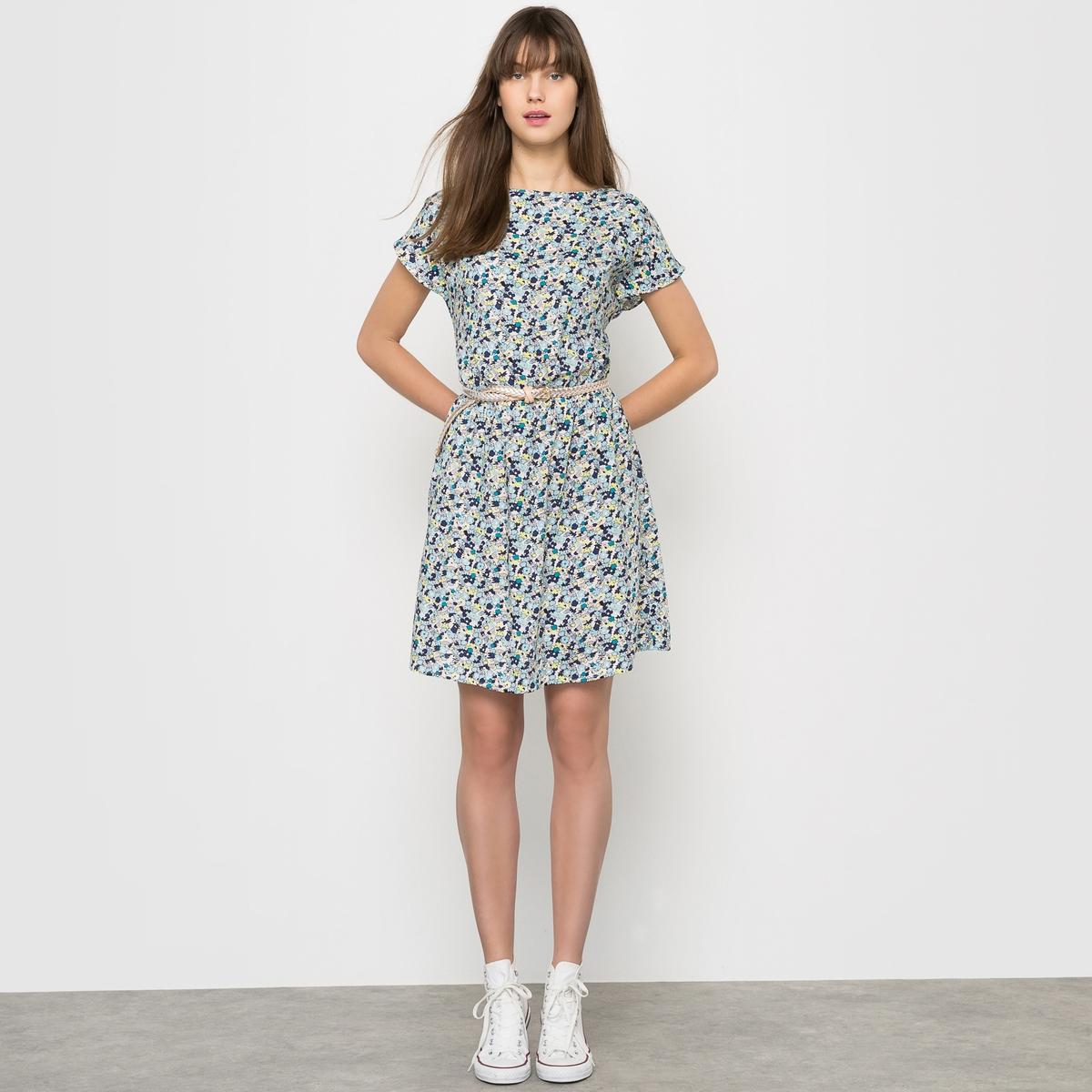 Платье короткое с цветочным рисунком