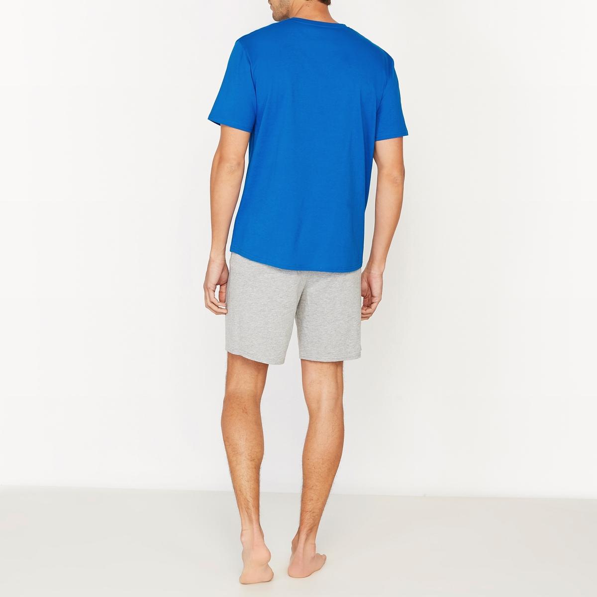 Пижама с шортами с V-образным вырезом из джерси 100% хлопок