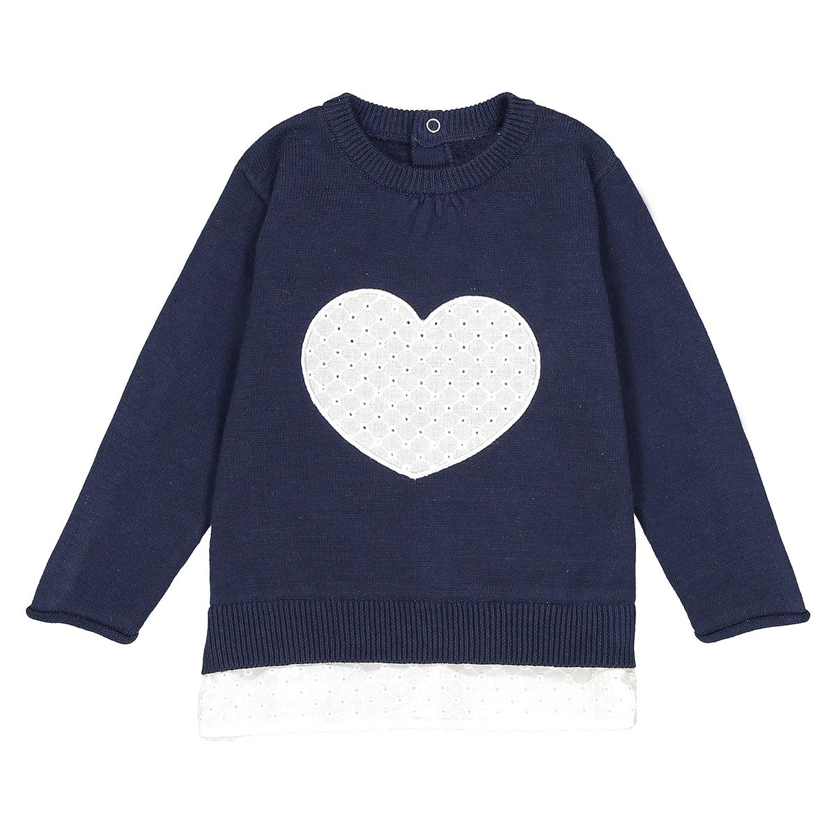 Пуловер с вышитым сердцем, 1 мес. - 3 года