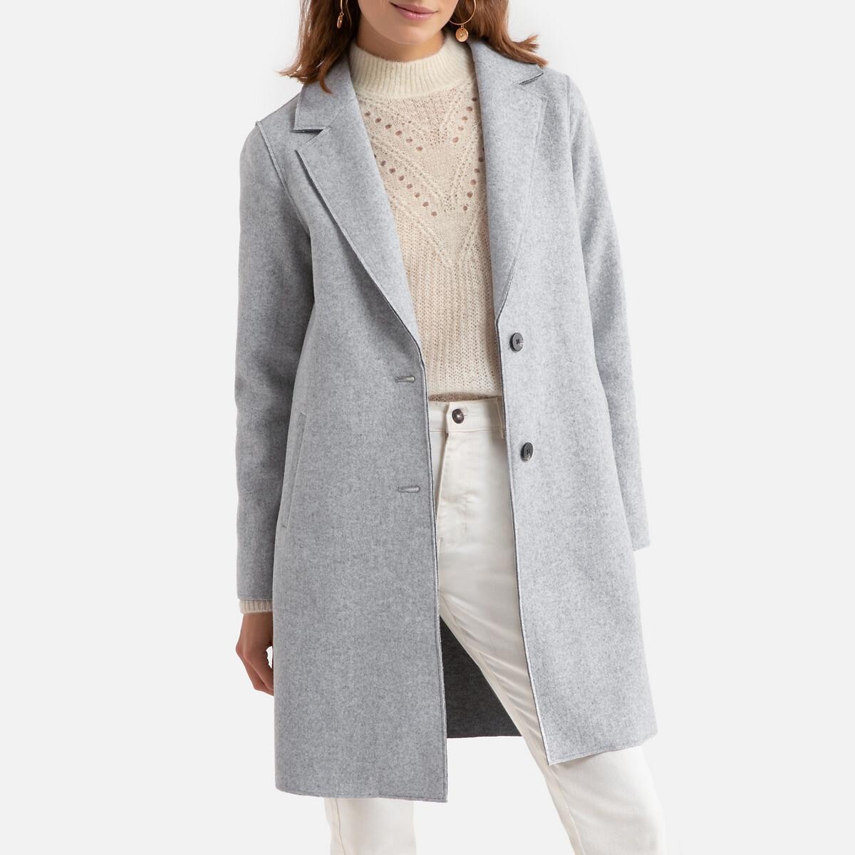 Пальто LaRedoute Средней длины на пуговицах XS серый