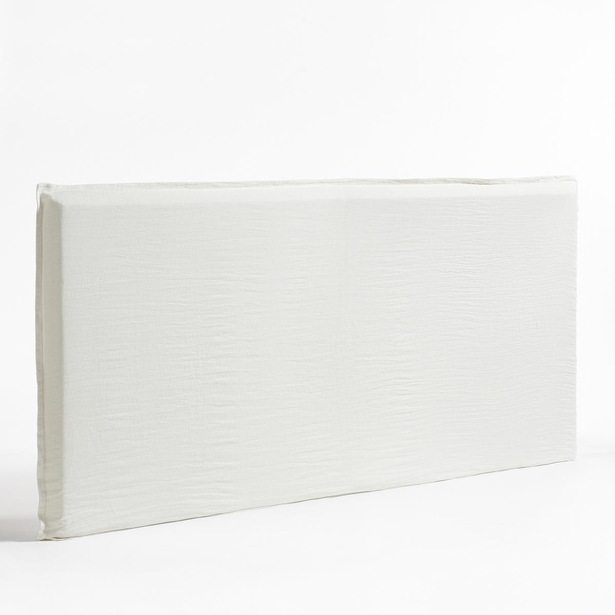 Чехол из стиранного льна для изголовья кровати XL, SandorЛьняной чехол XL  Sandor. Идеально подходит для изголовий кровати Sandor XL. Лен. Простой уход, легкий жатый и стиранный эффект, мягкий, нежный современный материал, который со временем только становится лучше.Материал :- 100% плотный лён. Отделка :- В форме наволочки, плоский волан в 2,5 см. Уход :- Машинная стирка при 40 °С. Размеры :- Ширина 265 x Высота 135 см.<br><br>Цвет: белый,серо-синий