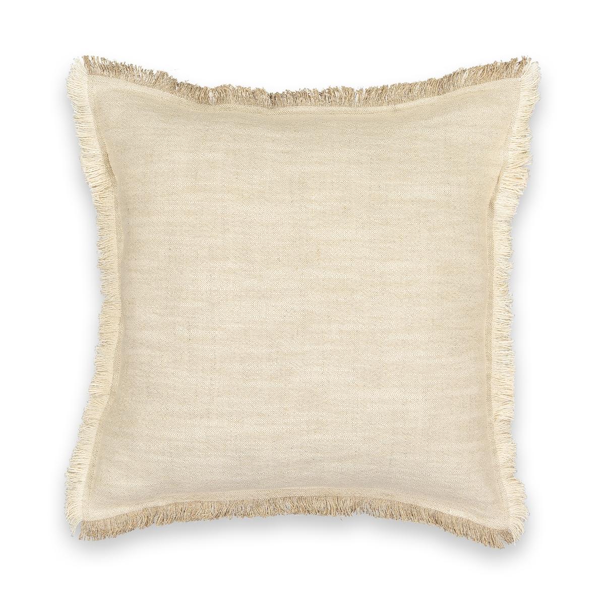 Чехол La Redoute На подушку из льна и хлопка Kamsy 50 x 50 см бежевый комплект из полотенце для la redoute рук из хлопка и льна nipaly 50 x 100 см белый