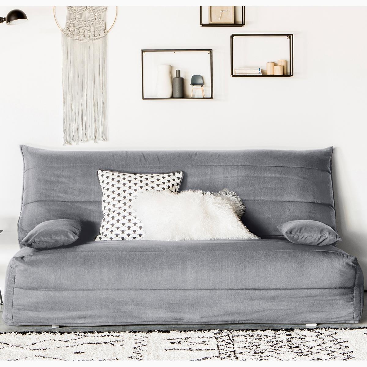 Стеганый LaRedoute Чехол из поликоттона для дивана-аккордеона ASARET 160 см серый