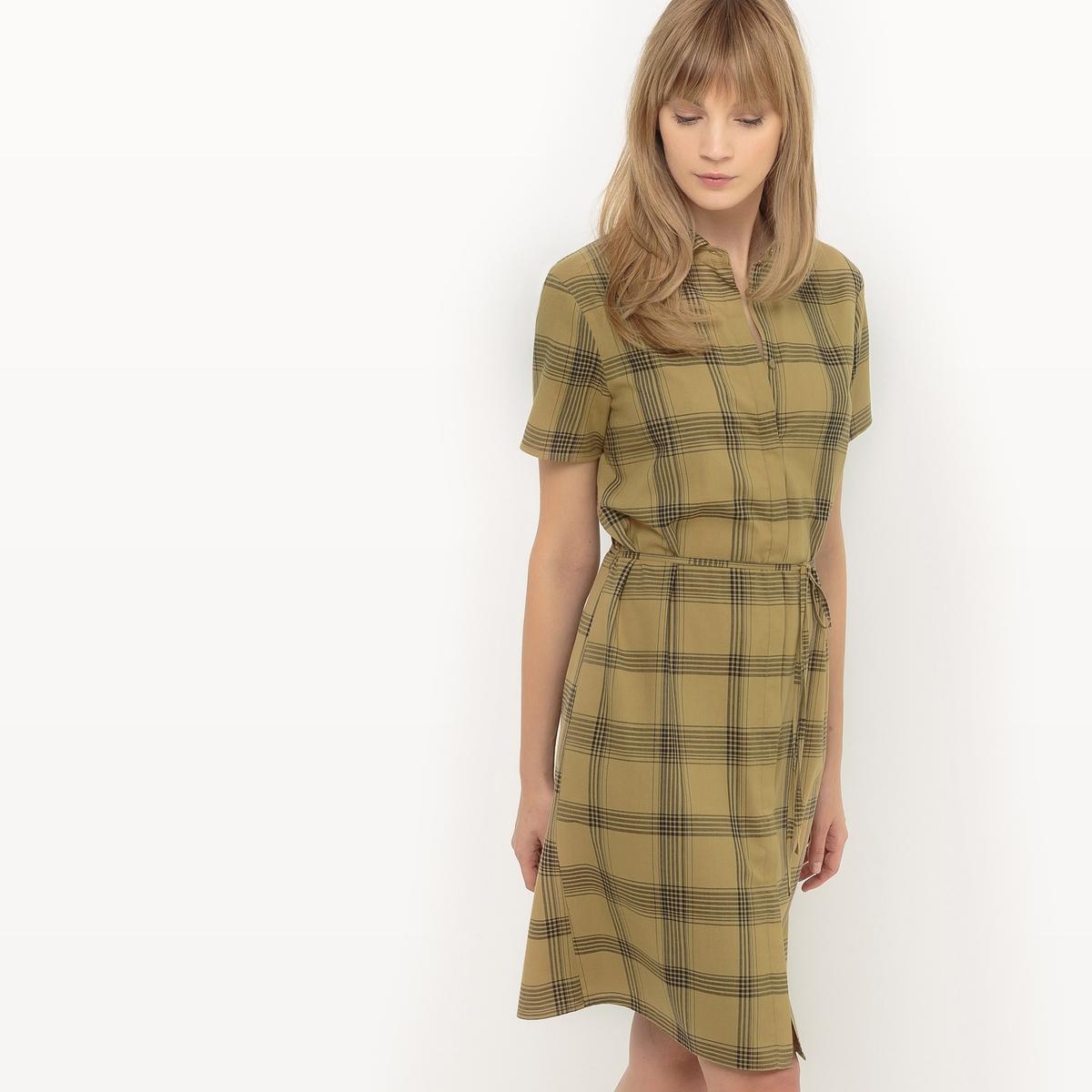 Платье-рубашка в клетку рубашка прямая большого размера в клетку