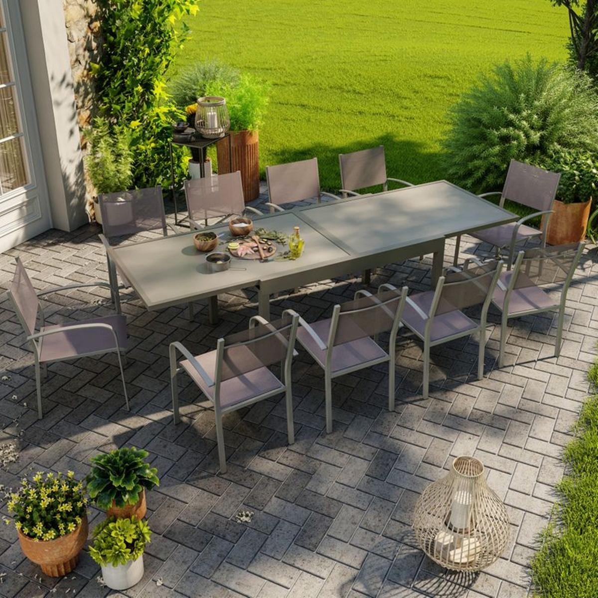 salon de jardin aluminium extensible